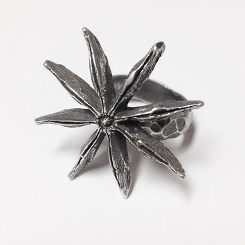 Silver Anise Ring - Large Anise Seed - Plant Jewelry - hand carved from wax and cast in my Austin Tx Studio - Sterling Silver 925