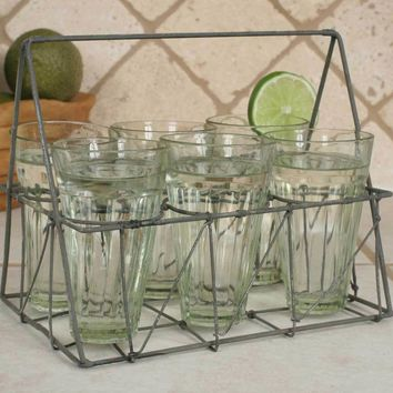 Rectangular Wire Caddy with Six Glasses