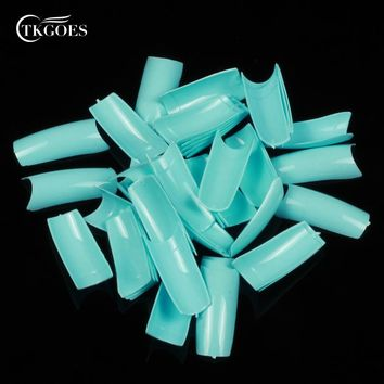 TKGOES 500pcs Natural Sky Blue Fake Full Nails Acrylic Nail Tips French False nails Tips Finger be Nail Art Salon Finger Designs