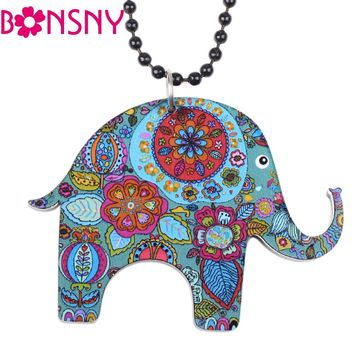 Bonsny Elephant Necklace Acrylic Long Chain Pendant  2016 news Accessories Animal Collar Colorful Design Girls Fashion Jewelry