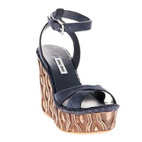 Miu Miu Suede Wooden Wedge Sandals