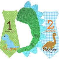 Boy Tie Baby Month Stickers Personalized (Dinosaur Tie) with Crochet Dinosaur Hat - Includes Newborn and Extra-Large 12 Month Stickers