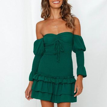 Maryann Off-the-Shoulder Drawstring Dress