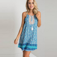 White Floral Print Lace and Drawstring Chest Mini Dress