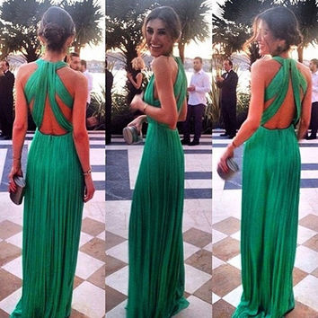 Green V Neck Evening Dress [7279391943]