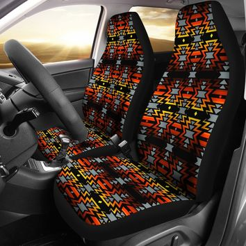 Black Fire Red  Set of 2 Car Seat Covers