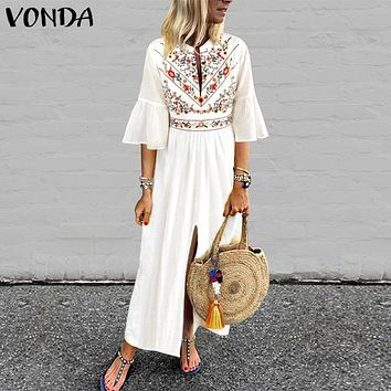Bohemian Women Vintage Print Dress 2019 VONDA Sexy V Neck Ruffle Sleeve Split Maxi Long Dresses Plus Size Casual Loose Vestidos