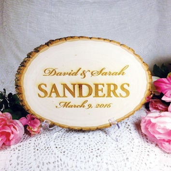 Engraved Wedding Sign, Rustic Table Sign, Wood Slice, Custom Personalized, Groom, Bride