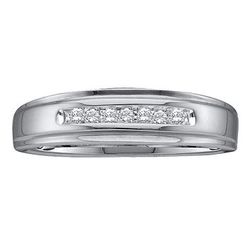 10kt White Gold Men's Round Diamond Channel-set Wedding Anniversary Band Ring 1/12 Cttw - FREE Shipping (US/CAN)