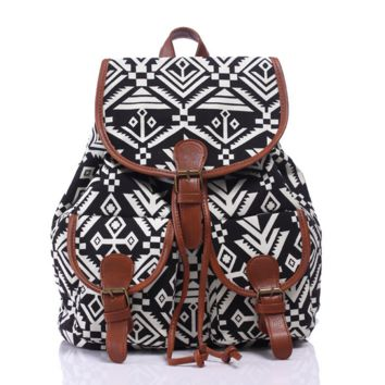 Ethnic Aztec Geometry Canvas Backpack Casual Daypack