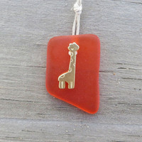 Orange Sea Glass Giraffe Charm Necklace