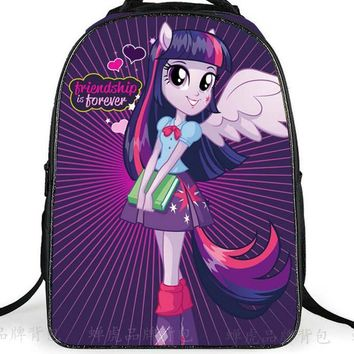 2017 Cute School Bags For Teenagers Girls Pony Horse Twilight Sparkle Backpack Kids SchoolBags Children Mochila