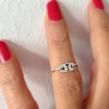 Initial Ring Pure Silver or 14K Gold filled Holiday Christmas gift idea for Her personalized ring statement ring knuckle ring tiny ring