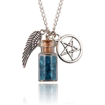 PINKSEE Supernatural Protection Necklace Angel Wing Pentagram With Salt Bottle Pendant Chain Necklaces Women Charm Jewelry Gifts