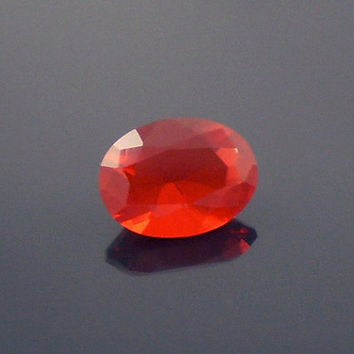 Fire Opal: 0.74ct Cherry Red Oval Shape Gemstone, Loose Natural Hand Made Mexican Faceted Precious Gem, 14k 18k 22k Gold, Jewelry Making O8