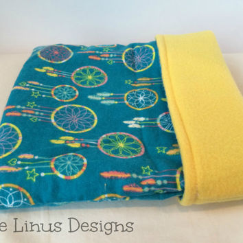 Cozy Fleece & Flannel Cuddle Sleep Snuggle Sack - Dreamcatchers / Yellow - Small Animal - Hedgehog / Guinea Pig / Rat / Ferret / Small Pet