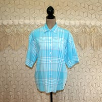 Blue Gingham Plaid Blouse XL Cotton Shirt Short Sleeve Top Casual Button Up Blouse Turquoise Robins Egg Plus Size Clothing Womens Clothing
