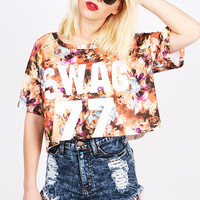 Floral Swag Cropped Tee | Trendy Clothes at Pink Ice