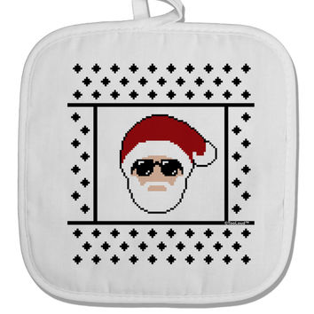 Cool Santa Christmas Sweater White Fabric Pot Holder Hot Pad