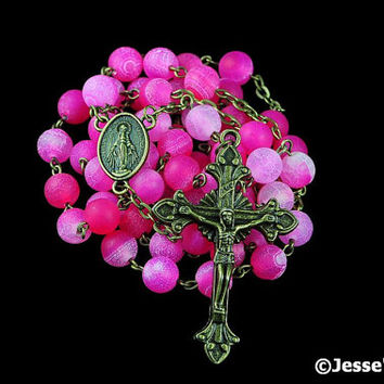 Catholic Rosary Beads Rustic Pink Frosted Agate Natural Stone Bronze Traditional Five Decade