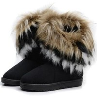 Gaorui women winter warm high long snow Ankle boots faux fox rabbit fur tassel shoes