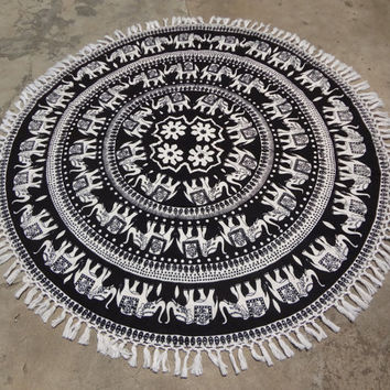 Elephant Mandala Round beach throw, Table cover , Bed throw ,yoga mat , beach towel ,hippie