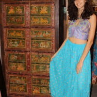 Summer In The City Long Skirts Rayon Blue Indian Golden Sari Border A-Line Skirt
