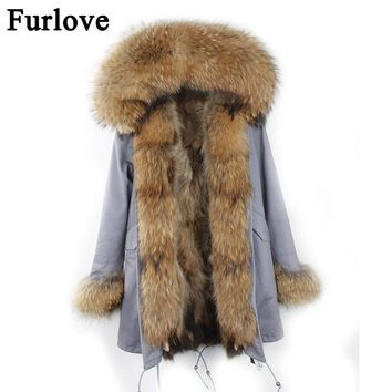 Parkas Women Winter 2017 Long Real Fur Coat Female Warm Fur Coat Jackets Natural Raccoon Fur Collar Real Raccoon Fur Lined Parka