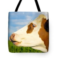 "Brown white cow looking straight ahead. Tote Bag for Sale by Jan Brons (18"" x 18"")"