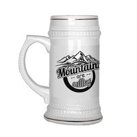22 oz Ceramic Beer Stein Hiking Rock Climbing Mug Mountains Are Calling