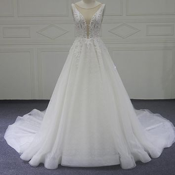 Lace A Line Wedding Dress Court Train V Neck Wedding Dresses
