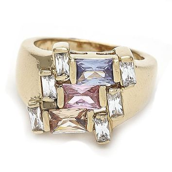 Gold Layered Mult-stone Ring, Baguette Design, with Cubic Zirconia, Gold Tone
