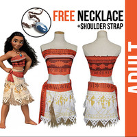 Moana Costume for Adult + FREE Necklace - Inspired by the movie Moana, Cosplay, jewelry, Moana accessories, Moana Costume