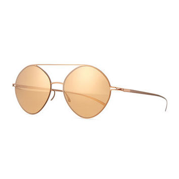 Round Mirrored Stainless Steel Sunglasses