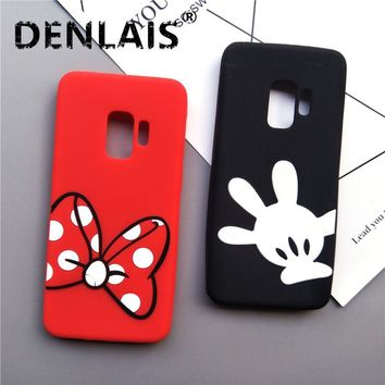 Cute Mickey Minnie Mouse Cartoon Case For Samsung Galaxy S9 Case Silicone Soft Phone Case For Samsung S9 Plus Coque Back Cover