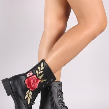 Wild Diva Lounge Embroidered Rosette Lace Up Combat Boots