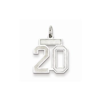 Sterling Silver Small Satin Number 20