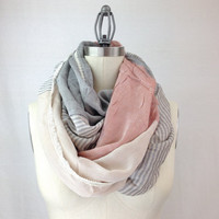 ANTIQUE pink infinity scarf, MORE COLORS, color block,  silky feel, extra chunky lightweight pink scarf
