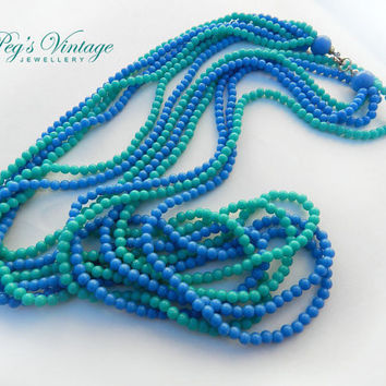 Beautiful Multi Strand Vintage Blue and Green Beaded Necklace