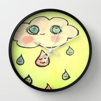 kawaii cloud Wall Clock by helendeer