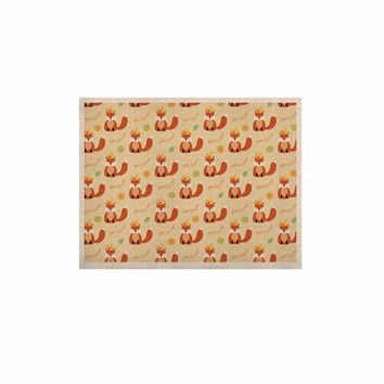 """Cristina Bianco Design """"Fox - New Friends - Pattern"""" Orange Yellow Illustration KESS Naturals Canvas (Frame not Included)"""