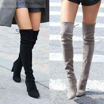 Suzie -Women Faux Suede Thigh High Boots Over the Knee Boots Stretch