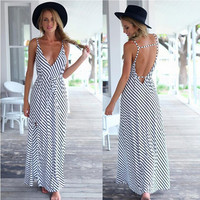 Black and White Stripe V-Neck Backless Maxi Dress