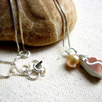 Sea Glass Necklace - Brown and White Seaglass Pottery Shard Necklace, Beach Glass Porcelain Jewelry