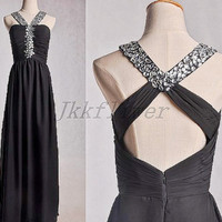 Long Black Beaded Prom Dresses,Sexy Cross Back  Party Dresses,Long Chiffon Party Grown Homecoming Dresses