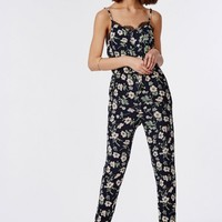 Missguided - Floral Eyelash Lace Strappy Jumpsuit Navy