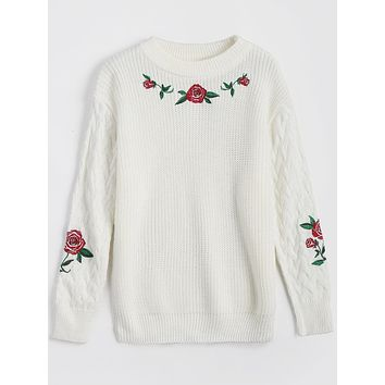Embroidery Chunky Sweater 6669