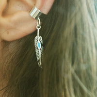 Ear Cuff Earring Boho Bohemian Hipster Shiloh Feather Pair