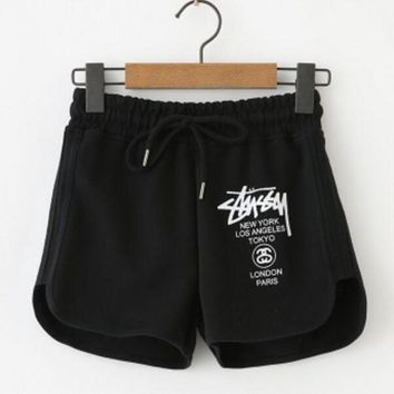 DCCKR2 Stussy Stylish Unisex Letter Print Loose Yoga Sports Pure Cotton Shorts Pants Black