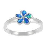 Sterling Silver Blue Opal Plumeria Flower Ring | Overstock.com